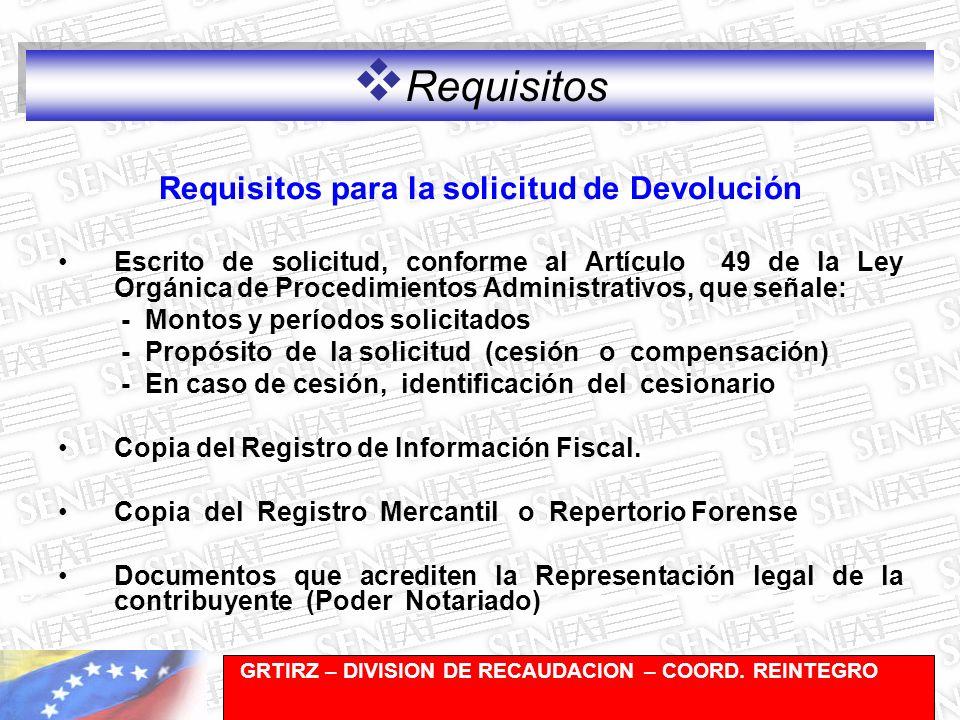 Requisitos para la solicitud de Devolución