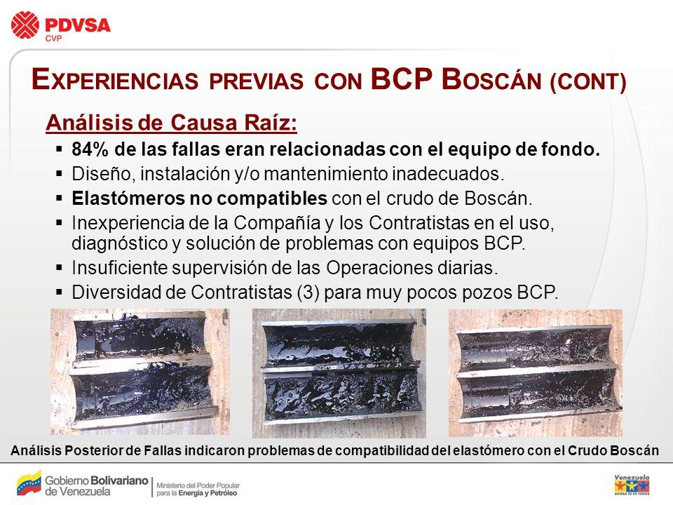 EXPERIENCIAS PREVIAS CON BCP BOSCÁN (CONT)