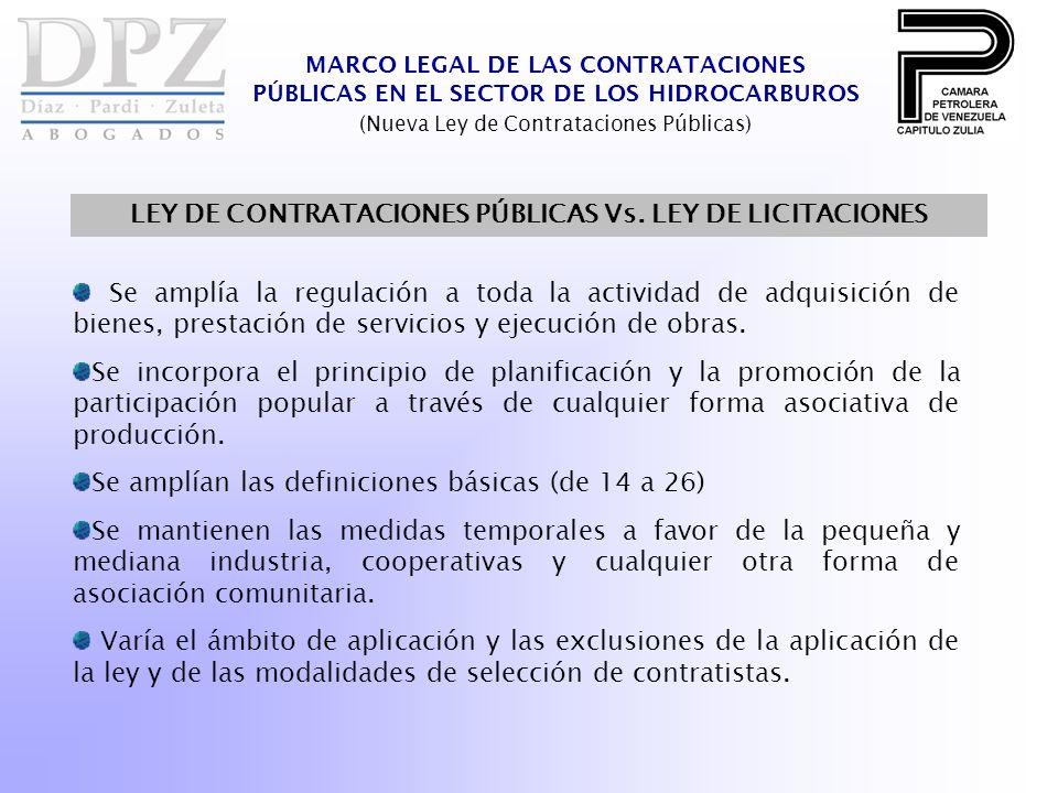 LEY DE CONTRATACIONES PÚBLICAS Vs. LEY DE LICITACIONES