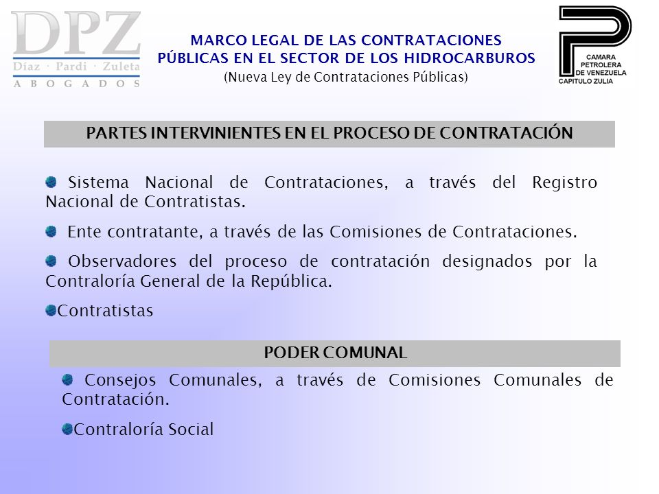 PARTES INTERVINIENTES EN EL PROCESO DE CONTRATACIÓN