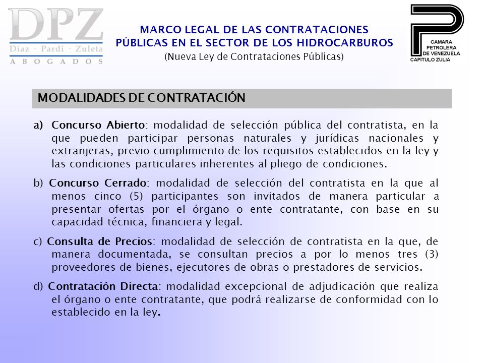 (Nueva Ley de Contrataciones Públicas)