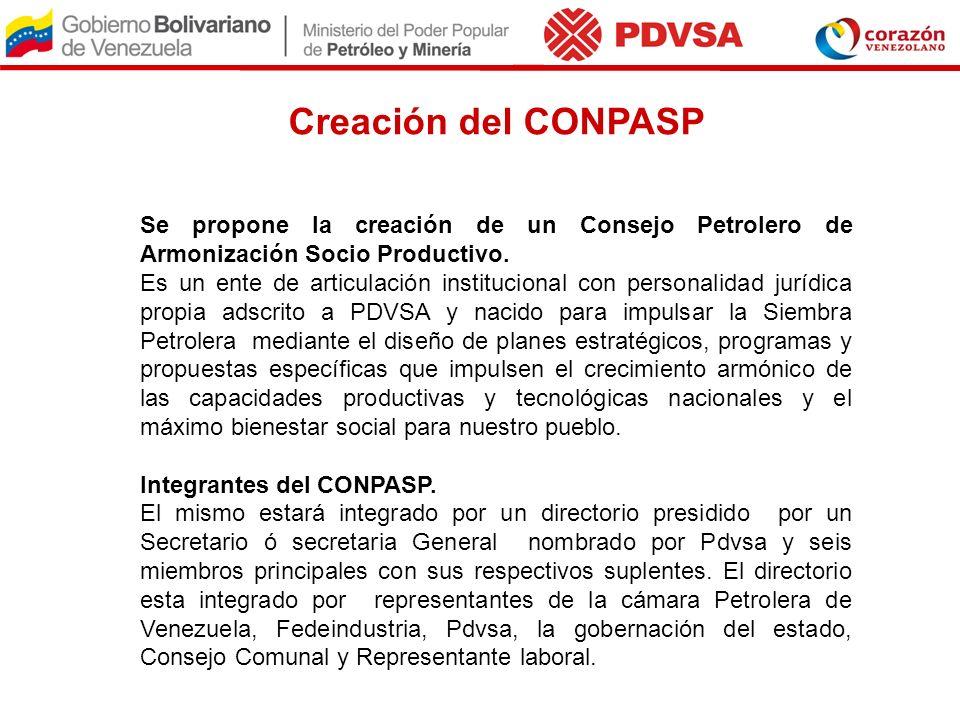 Creación del CONPASP Se propone la creación de un Consejo Petrolero de Armonización Socio Productivo.