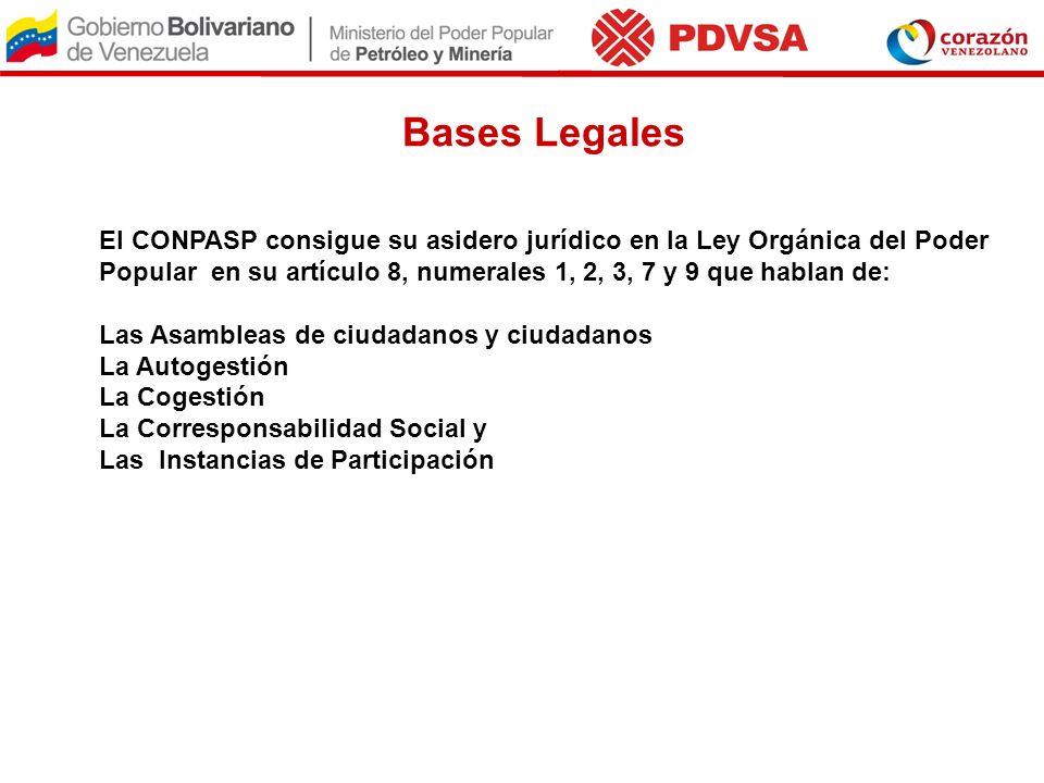 Bases LegalesEl CONPASP consigue su asidero jurídico en la Ley Orgánica del Poder Popular en su artículo 8, numerales 1, 2, 3, 7 y 9 que hablan de: