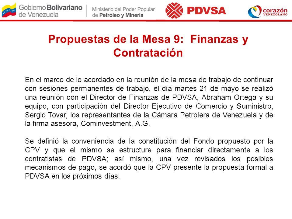Propuestas de la Mesa 9: Finanzas y Contratación