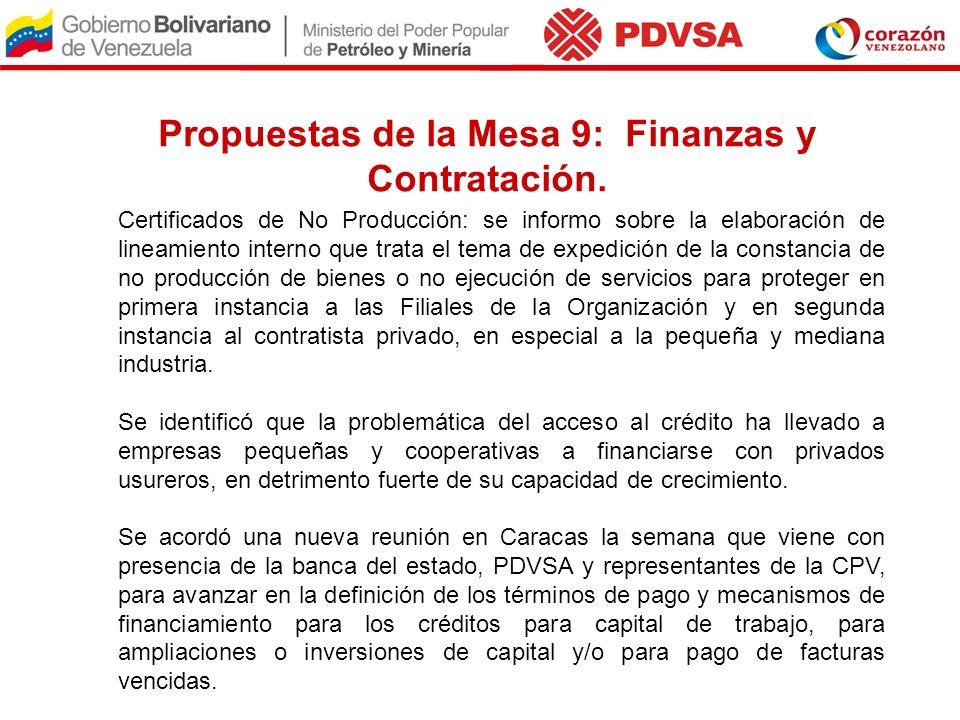 Propuestas de la Mesa 9: Finanzas y Contratación.