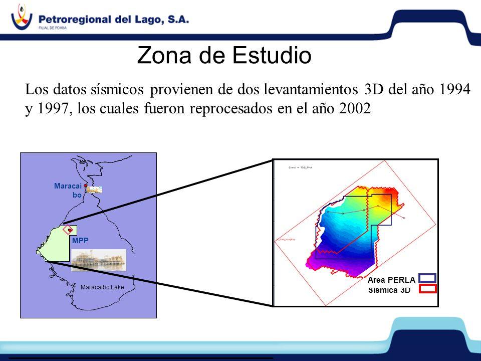Zona de Estudio Los datos sísmicos provienen de dos levantamientos 3D del año 1994. y 1997, los cuales fueron reprocesados en el año 2002.