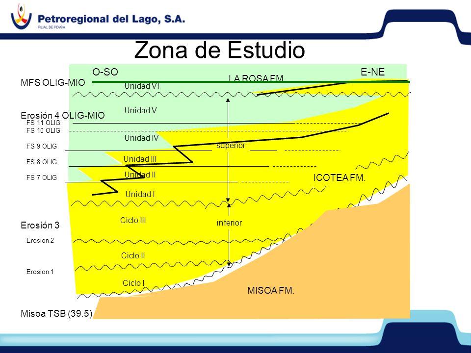 Zona de Estudio O-SO E-NE LA ROSA FM. MFS OLIG-MIO Erosión 4 OLIG-MIO