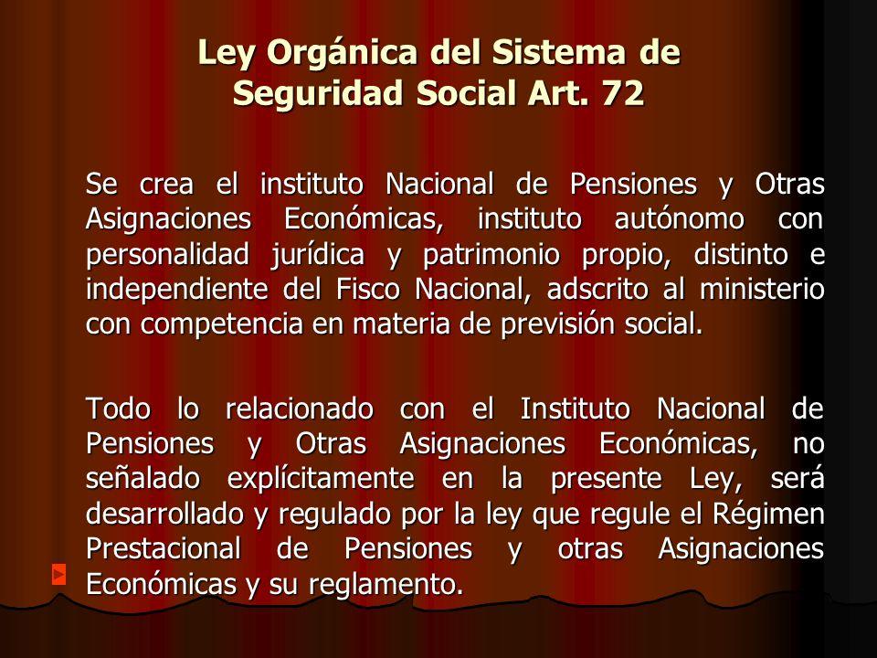 Ley Orgánica del Sistema de Seguridad Social Art. 72