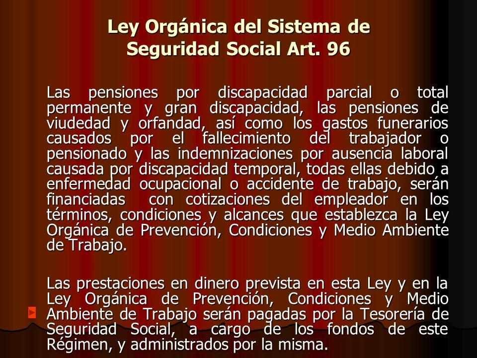 Ley Orgánica del Sistema de Seguridad Social Art. 96