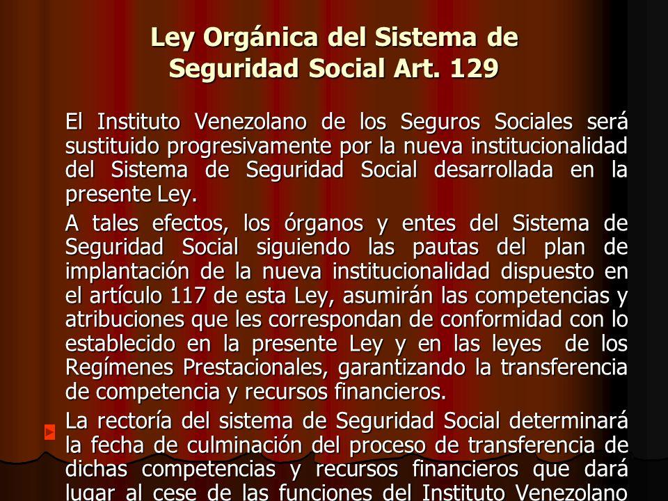 Ley Orgánica del Sistema de Seguridad Social Art. 129
