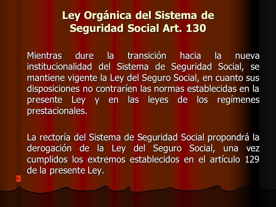 Ley Orgánica del Sistema de Seguridad Social Art. 130