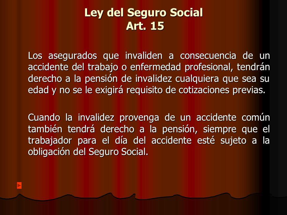 Ley del Seguro Social Art. 15