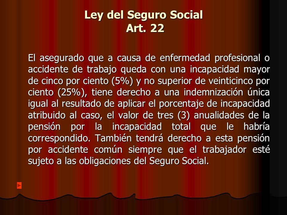 Ley del Seguro Social Art. 22