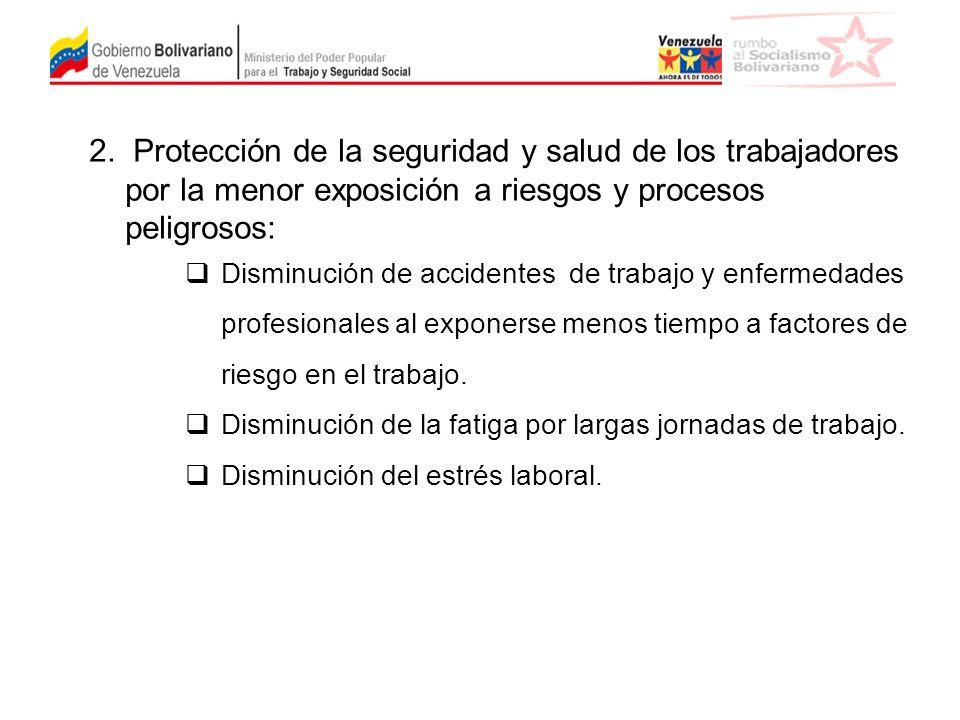 2. Protección de la seguridad y salud de los trabajadores por la menor exposición a riesgos y procesos peligrosos: