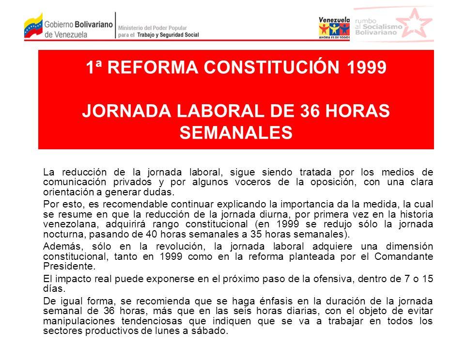 1ª REFORMA CONSTITUCIÓN 1999 JORNADA LABORAL DE 36 HORAS SEMANALES