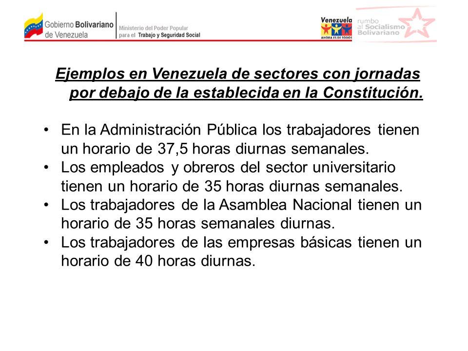 Ejemplos en Venezuela de sectores con jornadas por debajo de la establecida en la Constitución.