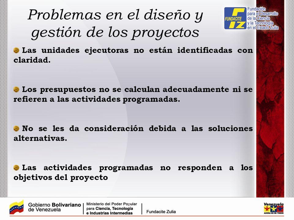 Problemas en el diseño y gestión de los proyectos
