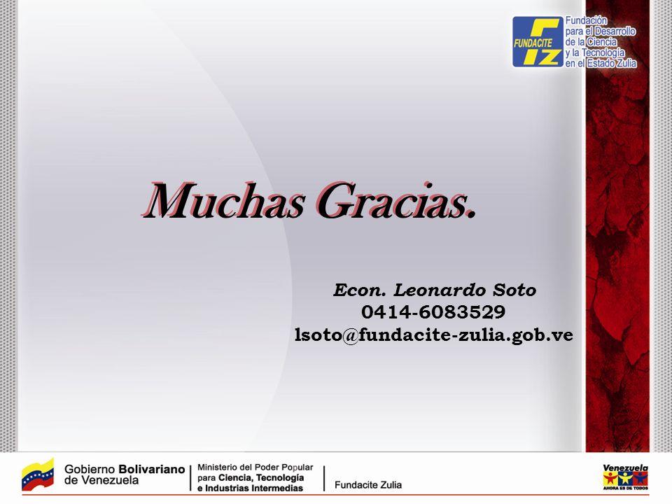 Muchas Gracias. Econ. Leonardo Soto 0414-6083529
