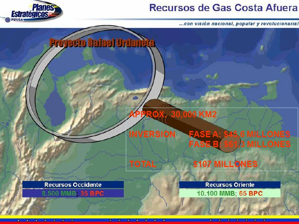 APPROX. 30,000 KM2 INVERSION FASE A: $45,6 MILLONES.