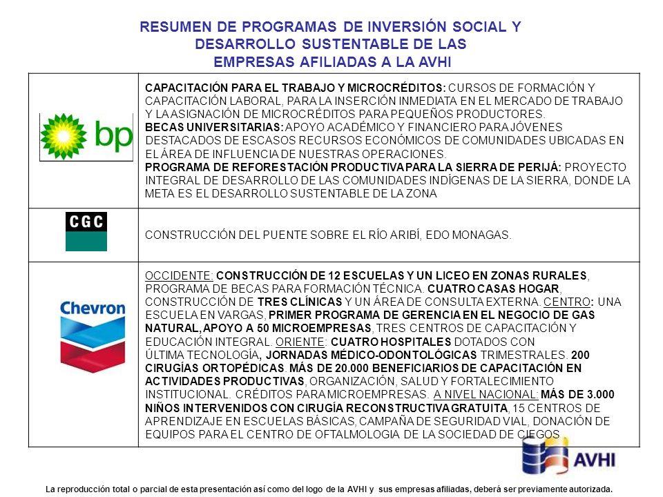 RESUMEN DE PROGRAMAS DE INVERSIÓN SOCIAL Y