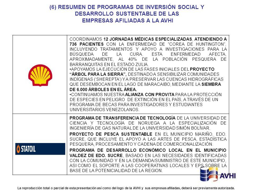 (6) RESUMEN DE PROGRAMAS DE INVERSIÓN SOCIAL Y