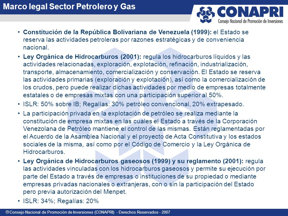Marco legal Sector Petrolero y Gas