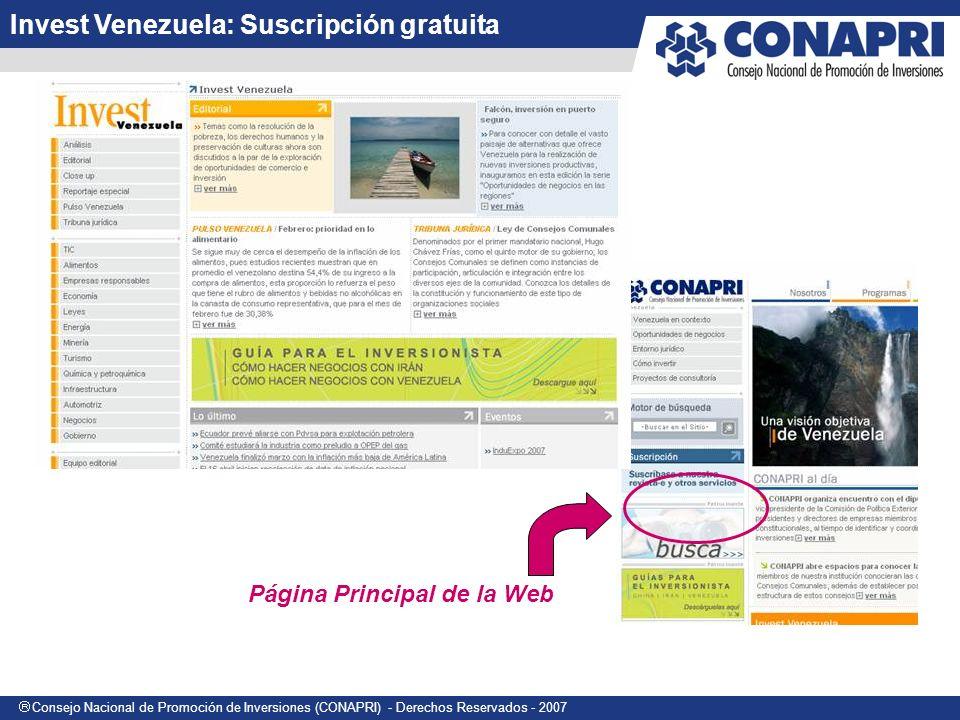 Invest Venezuela: Suscripción gratuita
