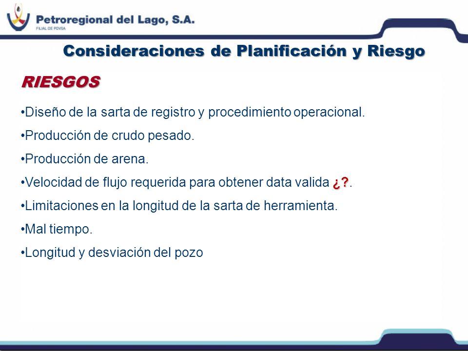 Consideraciones de Planificación y Riesgo