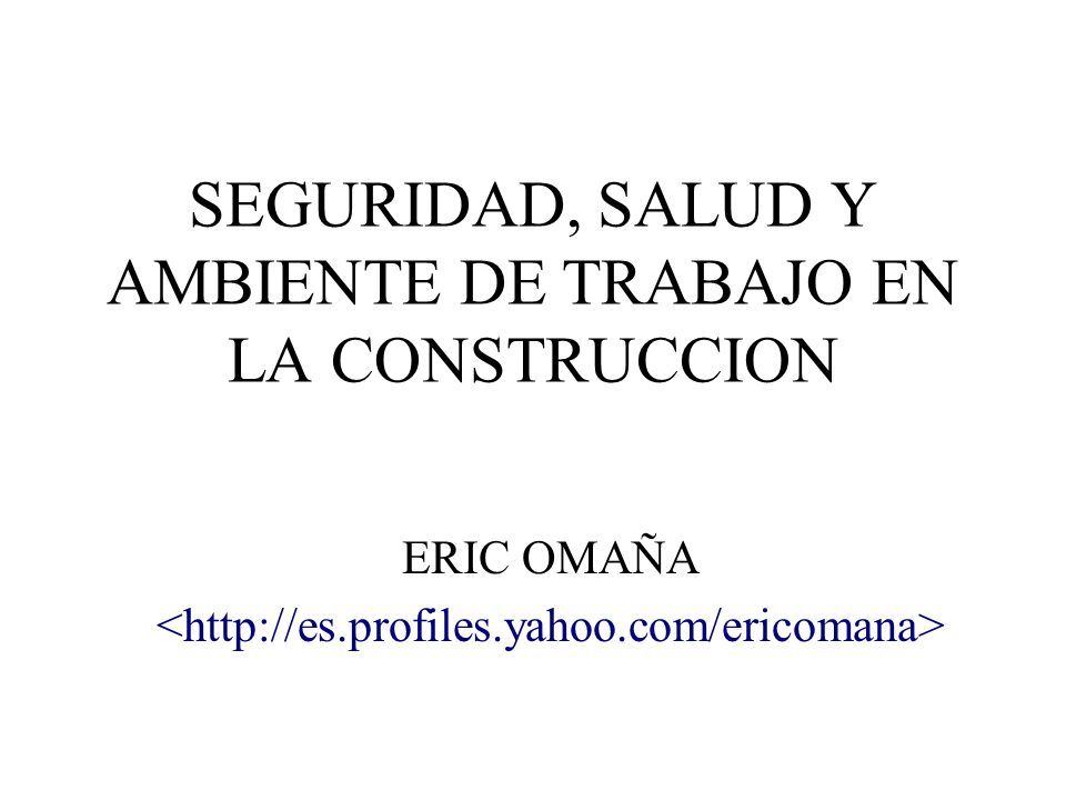SEGURIDAD, SALUD Y AMBIENTE DE TRABAJO EN LA CONSTRUCCION