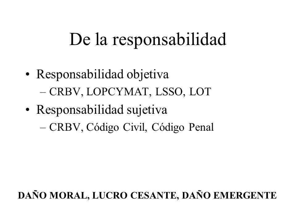 De la responsabilidad Responsabilidad objetiva