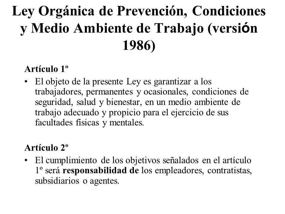 Ley Orgánica de Prevención, Condiciones y Medio Ambiente de Trabajo (versión 1986)