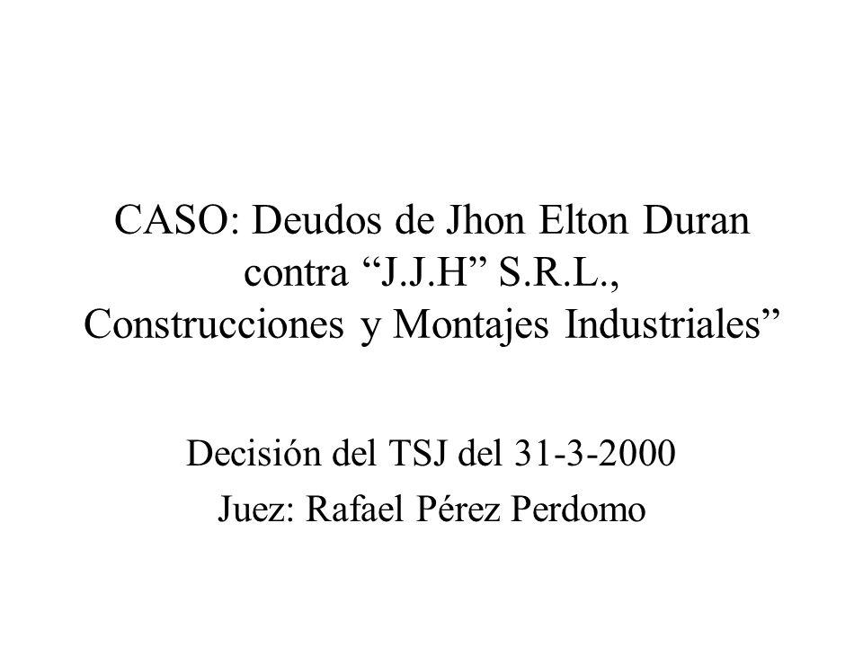 Decisión del TSJ del 31-3-2000 Juez: Rafael Pérez Perdomo