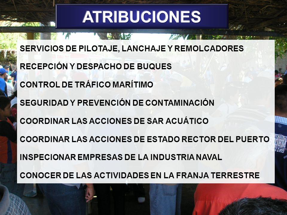 ATRIBUCIONES SERVICIOS DE PILOTAJE, LANCHAJE Y REMOLCADORES
