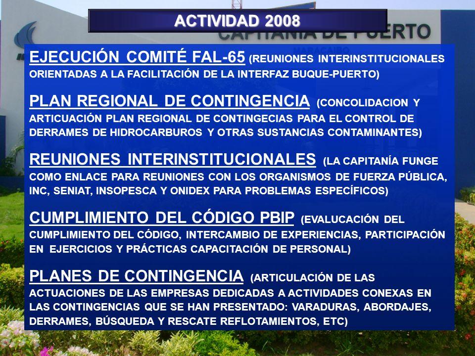 ACTIVIDAD 2008 EJECUCIÓN COMITÉ FAL-65 (REUNIONES INTERINSTITUCIONALES ORIENTADAS A LA FACILITACIÓN DE LA INTERFAZ BUQUE-PUERTO)