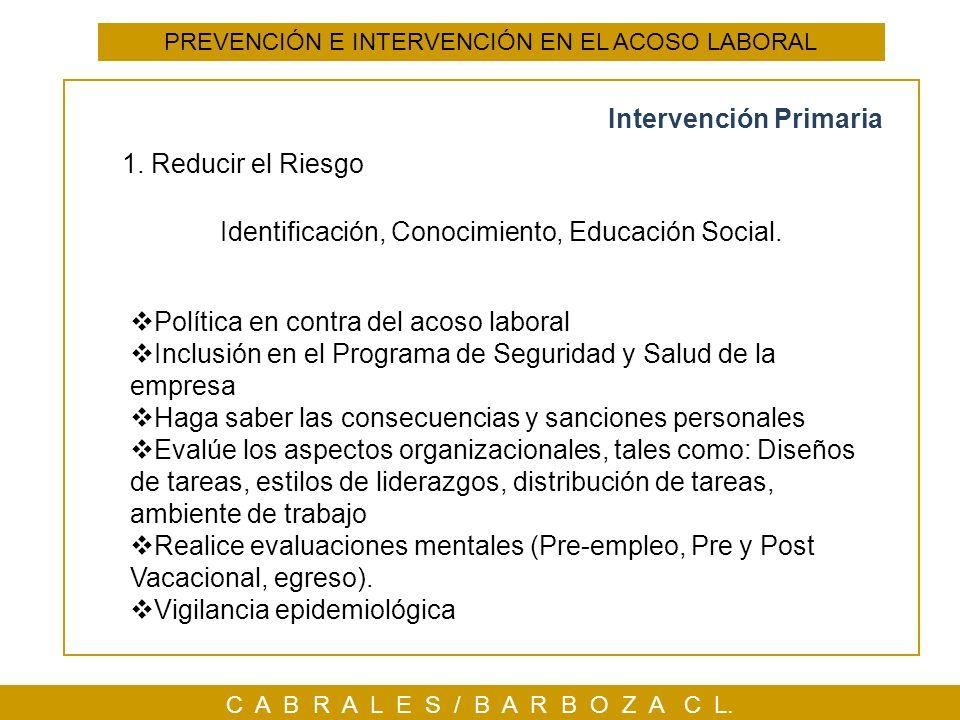 PREVENCIÓN E INTERVENCIÓN EN EL ACOSO LABORAL