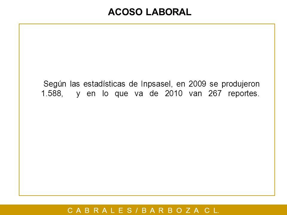 ACOSO LABORAL Según las estadísticas de Inpsasel, en 2009 se produjeron 1.588, y en lo que va de 2010 van 267 reportes.