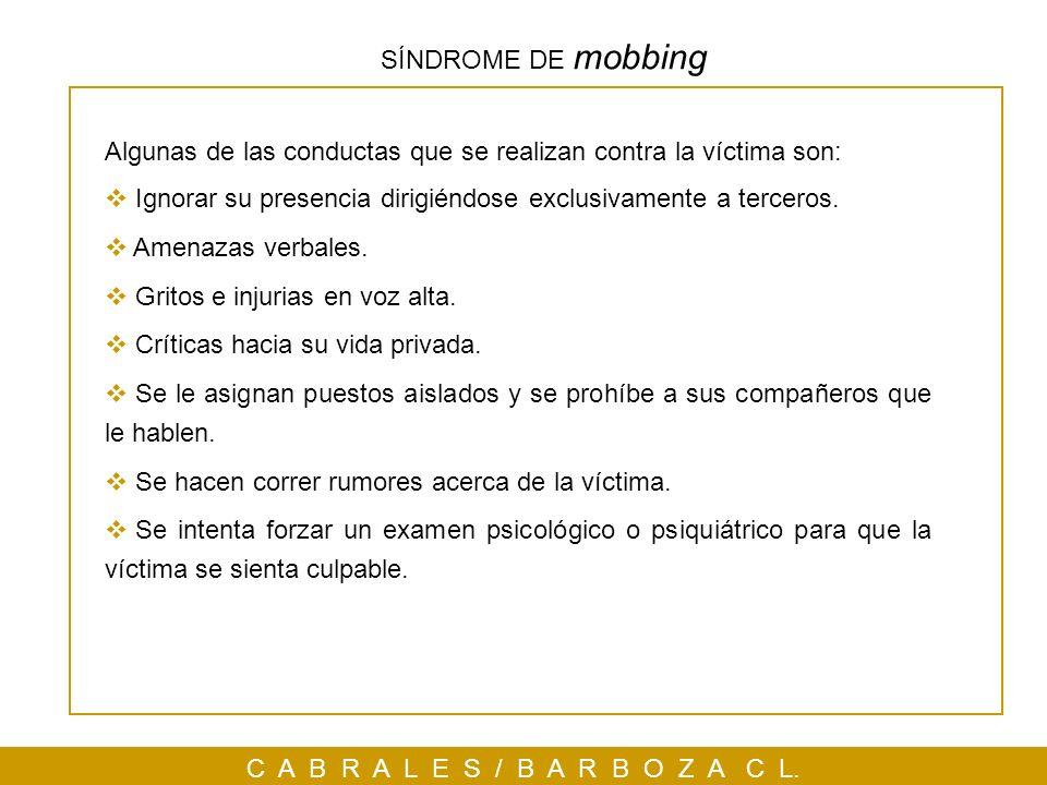SÍNDROME DE mobbing Algunas de las conductas que se realizan contra la víctima son: Ignorar su presencia dirigiéndose exclusivamente a terceros.