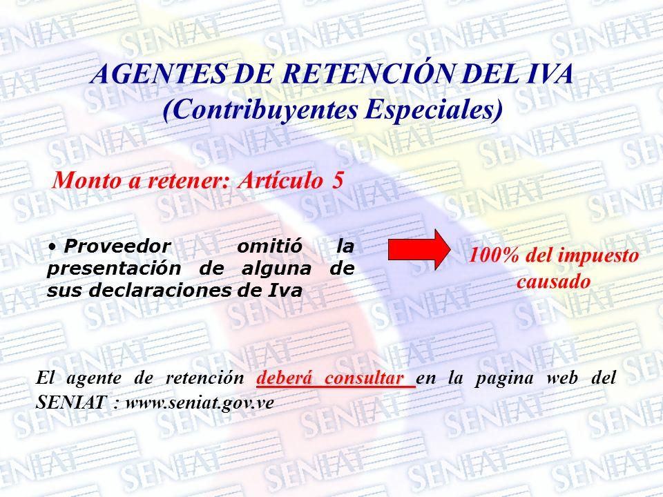 AGENTES DE RETENCIÓN DEL IVA (Contribuyentes Especiales)