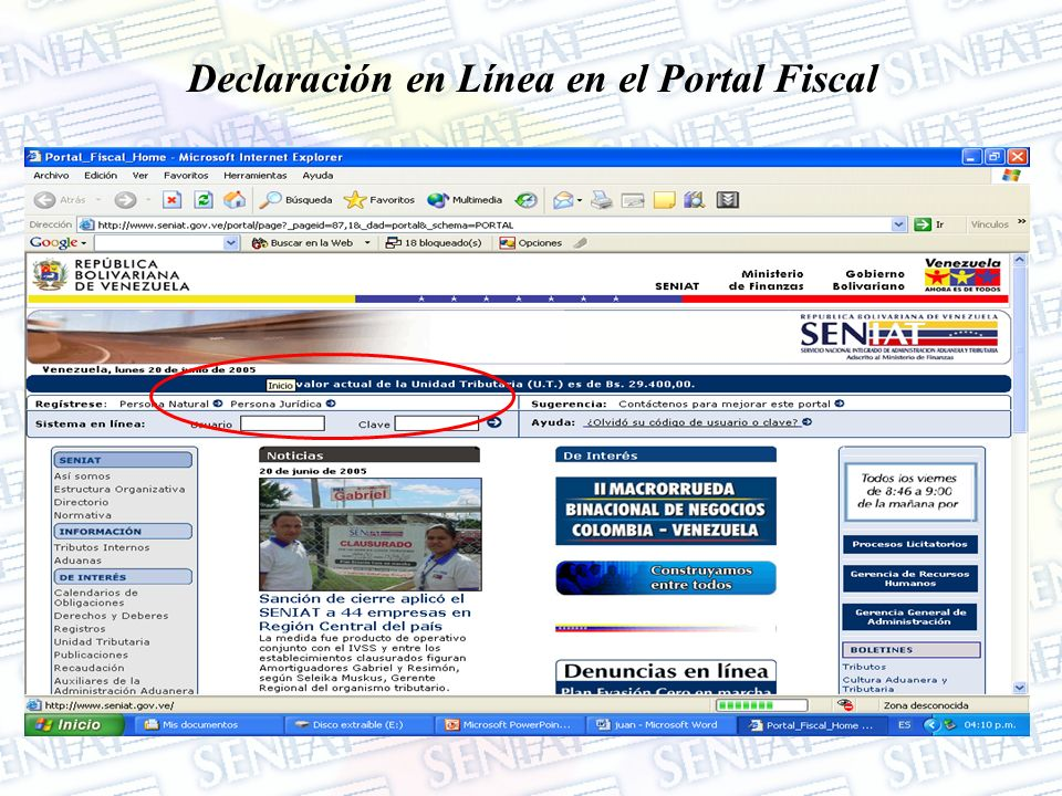 Declaración en Línea en el Portal Fiscal