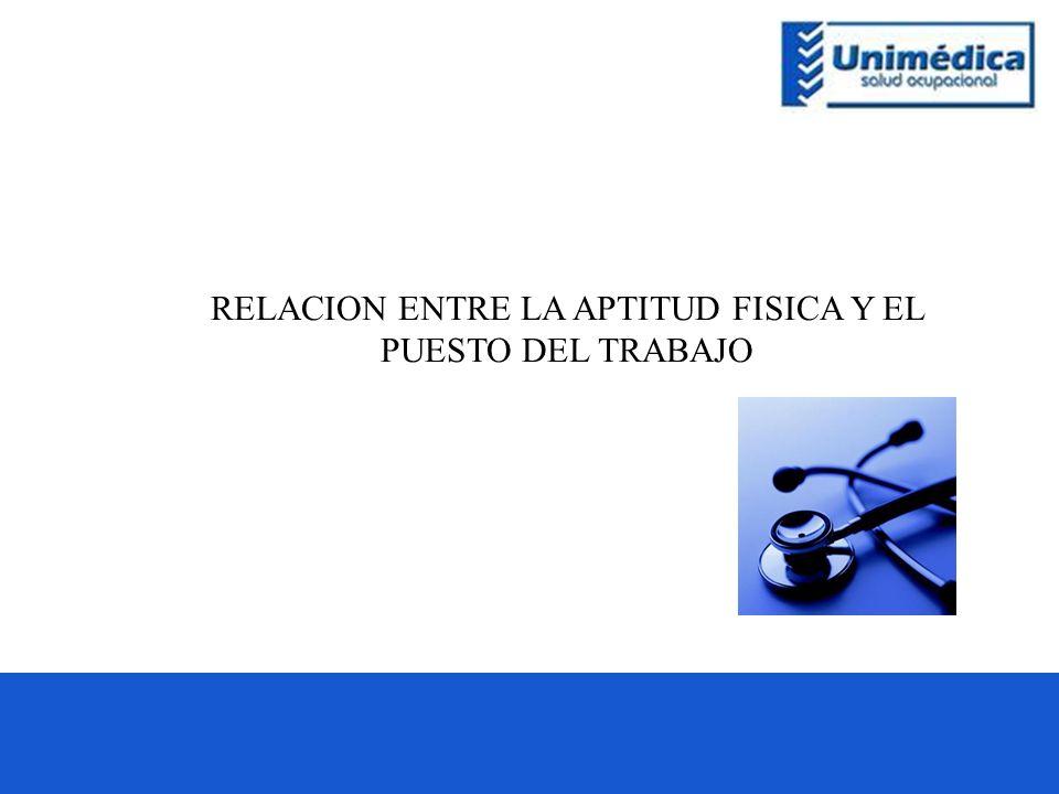 RELACION ENTRE LA APTITUD FISICA Y EL PUESTO DEL TRABAJO