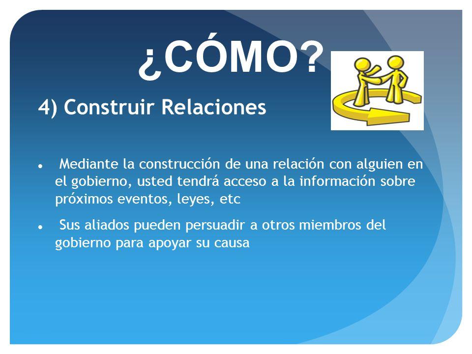 ¿CÓMO 4) Construir Relaciones