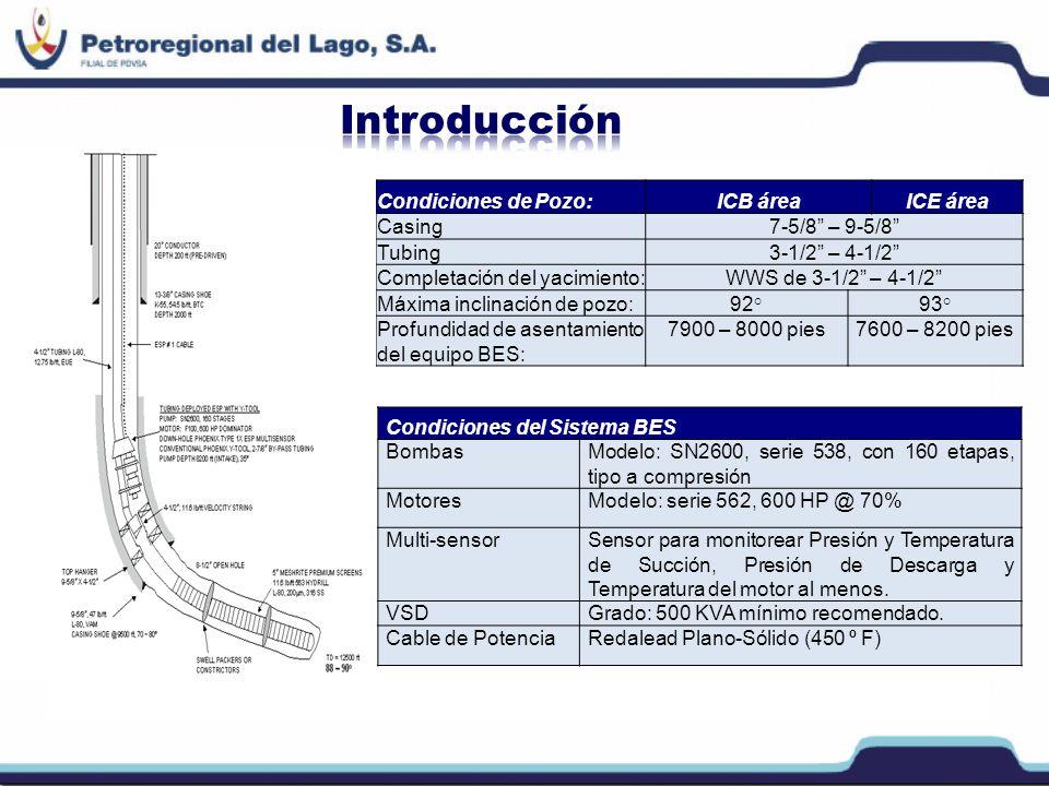 Introducción Condiciones de Pozo: ICB área ICE área Casing
