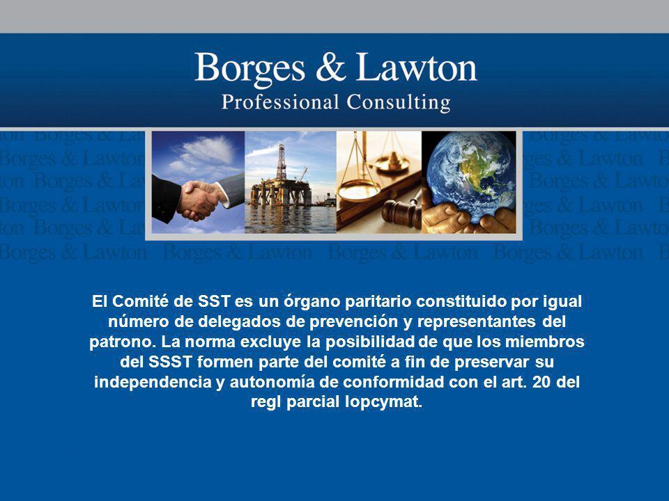 El Comité de SST es un órgano paritario constituido por igual número de delegados de prevención y representantes del patrono.
