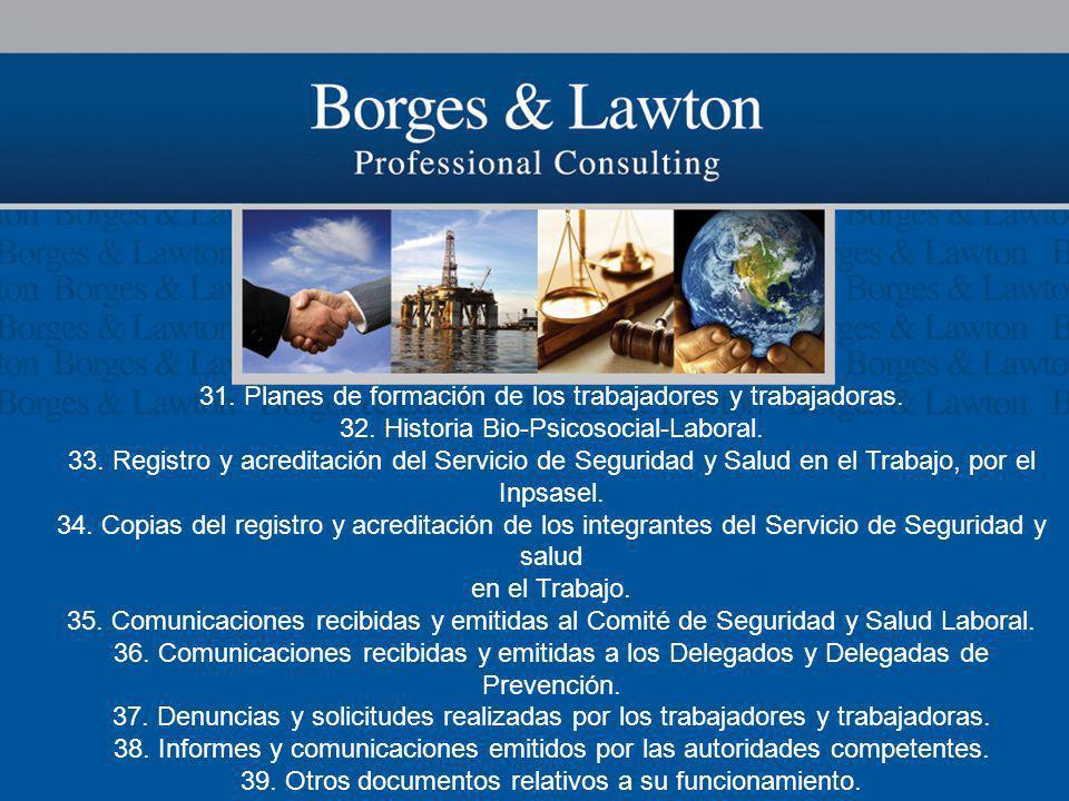 31. Planes de formación de los trabajadores y trabajadoras.