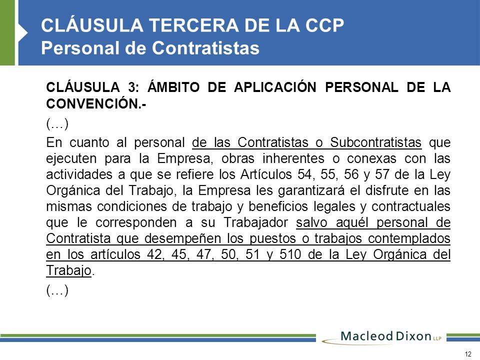 CLÁUSULA TERCERA DE LA CCP Personal de Contratistas