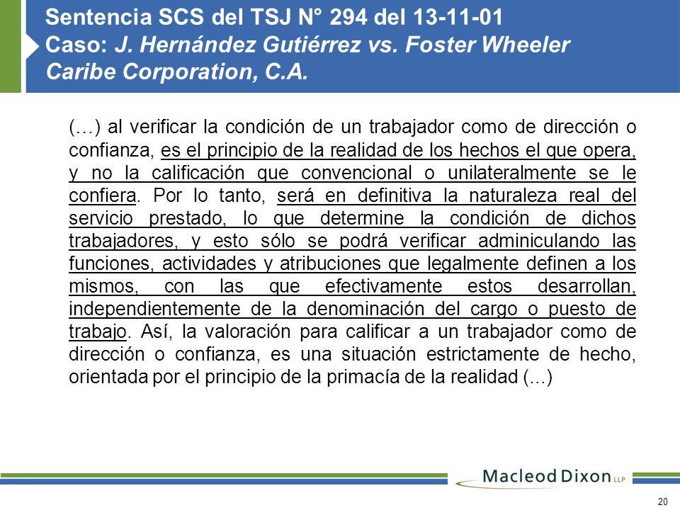 Sentencia SCS del TSJ N° 294 del 13-11-01 Caso: J