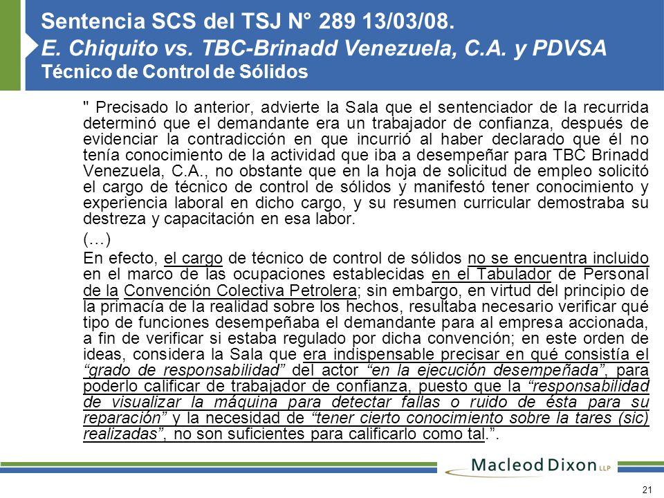 Sentencia SCS del TSJ N° 289 13/03/08. E. Chiquito vs