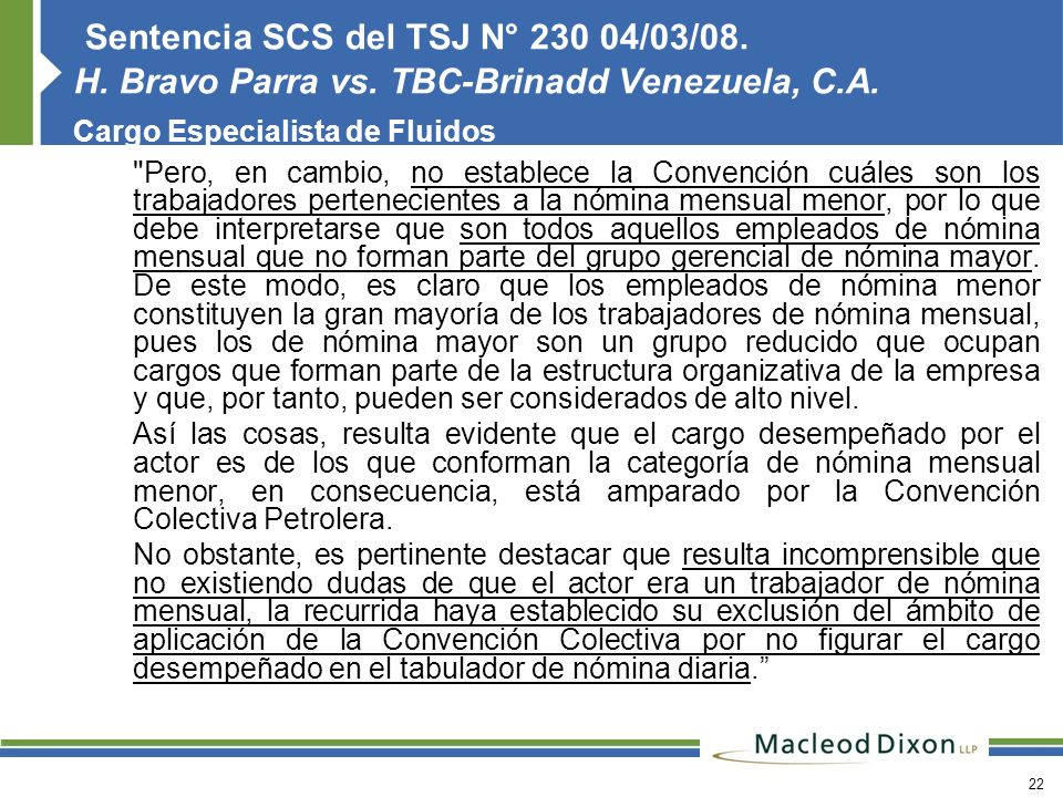 Sentencia SCS del TSJ N° 230 04/03/08. H. Bravo Parra vs