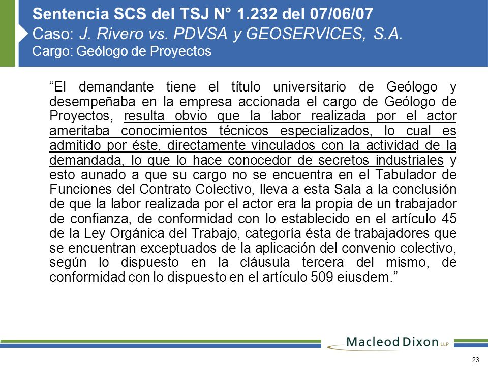 Sentencia SCS del TSJ N° 1. 232 del 07/06/07 Caso: J. Rivero vs