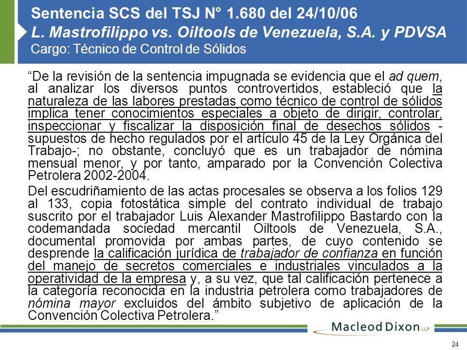 Sentencia SCS del TSJ N° 1. 680 del 24/10/06 L. Mastrofilippo vs